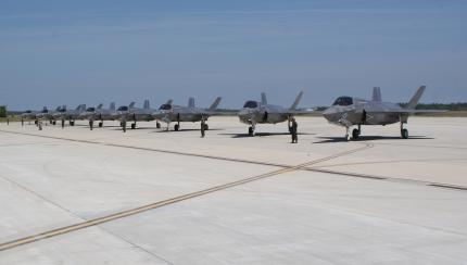 Eglin AFB Marines Fly First F-35B Eight-Ship