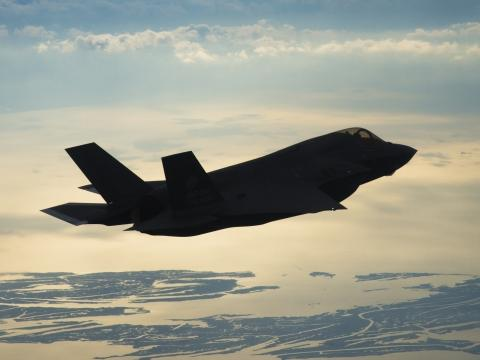 F-35B Flies at Dusk