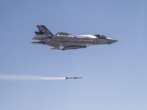 First F-35A In-Flight Missile Launch