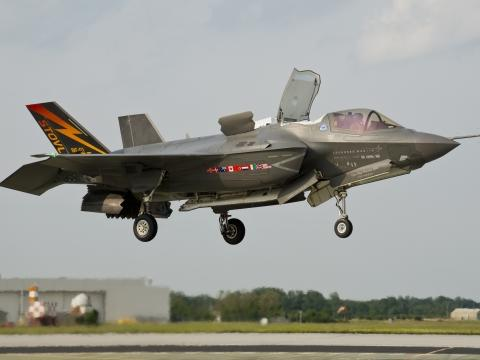 Pilot Completes First F-35 Vertical Landing for Royal Air Force