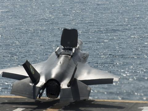 First RAF F-35B Short Takeoff at Sea
