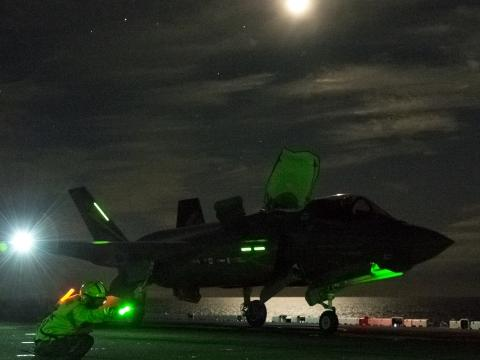 F-35B Night Short Takeoff at Sea