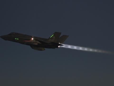F-35 During Night Tanker Testing